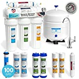 Express Water 5 Stage Under Sink Reverse Osmosis Filtration System 100 GPD RO Membrane Deluxe Faucet - Pressure Gauge - Ultra Safe Residential Home Drinking Water Purification - Extra Set of 4 Filters