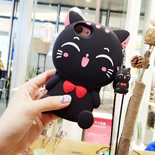 Jinxtech Black Cat Shaped Adorable 3D Cute Cartoon Character Soft Rubber Silicone Case with a Strap for iPhone 7,iPhone 8 (4.7 Inch)(Black Cat)