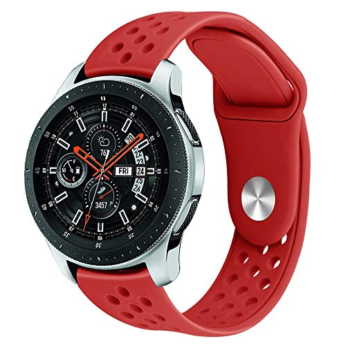 ur Blowhole Large Silicone Watch Band Wrist Strap for Samsung Galaxy Watch 46mm (Red) ()
