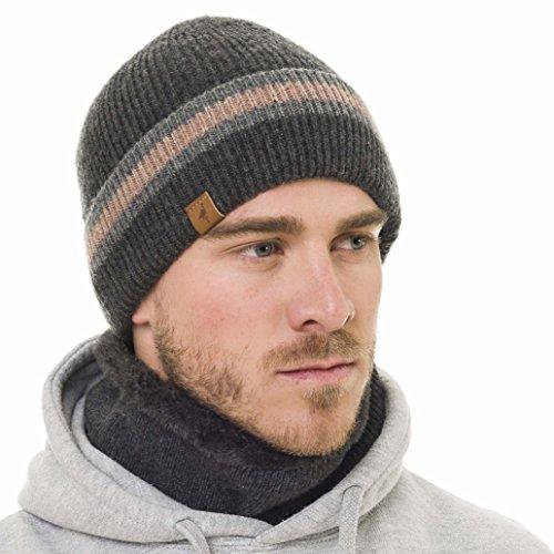 Beanie Neck Warmer Set With Wool Fleece Fur Scarf Gaitor Gray Beige Skull Cap Knit Hat Ski (Gray Winter Knit Hat)