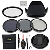 55mm Lens Accessories Kit w/ 55mm ND Filters Kit, 55mm Lens Hood, 55mm UV Filter, 55mm Lens Cap + Camera cleaning kit for all Lense and Cameras with a 55mm Lens thread.