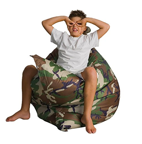 """Alta Regular Bean Bag Chair (COVER ONLY) Big Sofa Cover Made Stain and Water Resistant for Indoor and Outdoor Use. 49"""" x 49"""" Green Camo"""