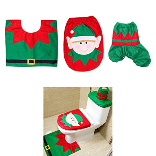 Christmas Decorations Happy 3D Nose Santa Toilet Seat Cover And Rug Set For Bathroom Decor