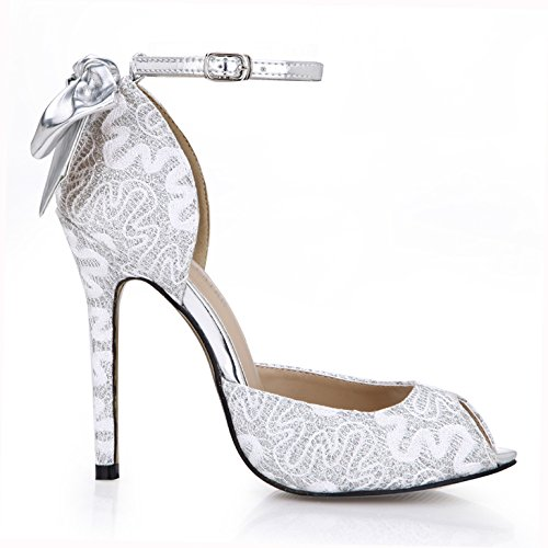 Single women new taste wedding guests beautiful flowers of the high-heel shoes Silver Fish tip women shoes Silver CW0vGuwCp