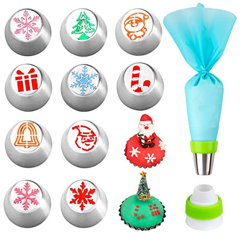 Whaline Russian Icing Piping Tips Pastry Baking Tools Kits Design 12pcs set for Cakes Cupcakes Decorating include 10 Pcs Icing Nozzles, 1 Coupler and Pastry Bags