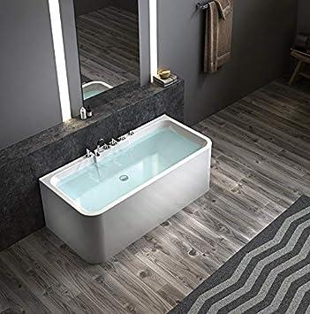 exclusive freistehende badewanne an 3 seiten geschlossen acryl mit armatur 170x78x62cm