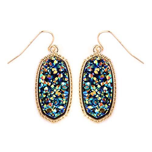 - Sparkly Acrylic Druzy Teardrop Jewel Statement Drop Earrings - Lightweight Silky Thread Faux Stone Dangles Fringe Tassel, Oval Hexagon (Oval Hexagon - Multi Blue)