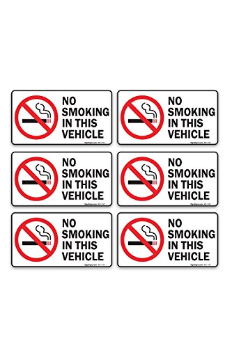 (6 Pack) No Smoking In This Vehicle Sign, Large 1.5 X 3 Vinyl Stickers, For Indoor or Outdoor Use - By SIGO SIGNS