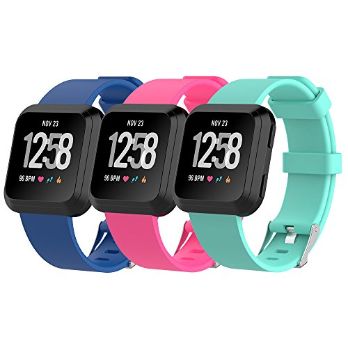 HWHMH Silicone for Fitbit Versa Bands Wristband and Wristwatch Style Silicone Replacement Secure Band for Fitbit Versa