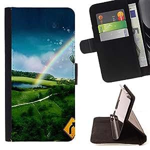 For Apple Apple iPhone 4 / iPhone 4S,S-type Naturaleza Aire Caliente Aventura- Dibujo PU billetera de cuero Funda Case Caso de la piel de la bolsa protectora