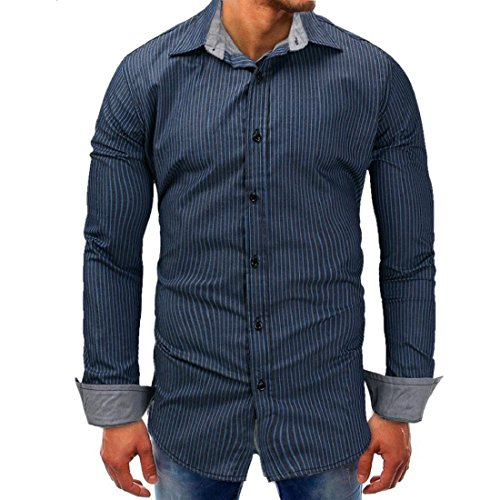 GONKOMA Mens Shirts Men's Casual Denim Shirt Tops Slim Fit Long Sleeve Striped Printed Blouse Shirt (S, Dark Blue) by GONKOMA Mens Shirts
