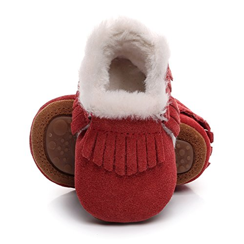 (Winter Suede Fleece Lined Rubber Soles Non Slip Warm Baby Boots Girls Boys Moccasins with Fur Hard Sole Baby Shoes (0-6m/4.53