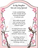 Rikki Knight To My Daughter You are Very Special Beautiful Pink Floral with Silhouette Touching 8x10 Poem Plaque with Arch Top