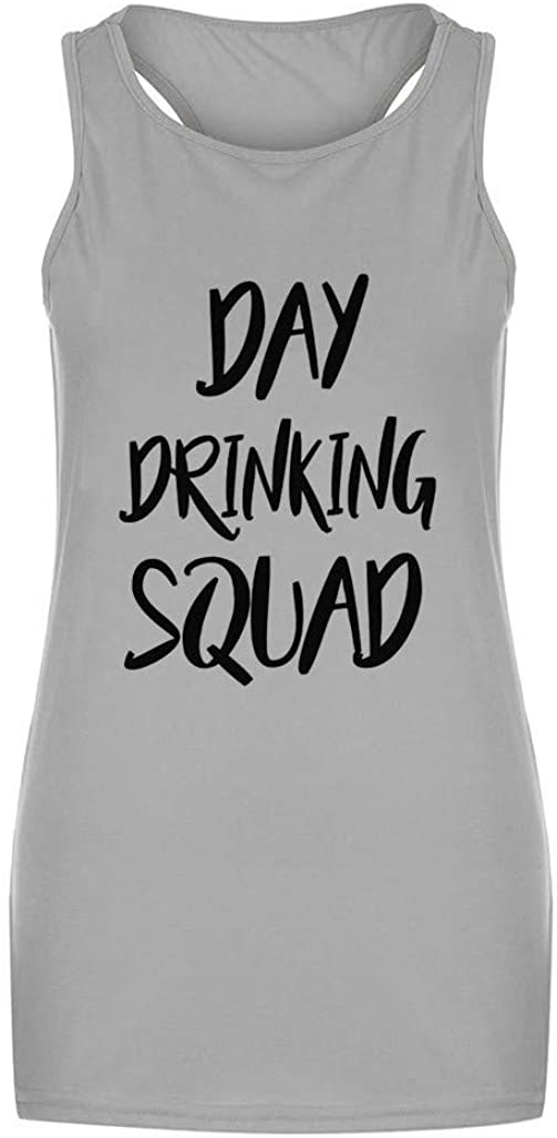 Aunimeifly Unisex Casual Short Sleeve Tops Day Drinking Shirts Girls Weekend Day Drinking Squad Printed Tank Top