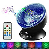 Night Light - Upgraded LED Night lights for Kids with Music Player & Timer, Ocean Wave Projector with Remote & Easy Touch Mode Perfect for Babies Room and Bedroom 12 LED & 7 Colors (Black)