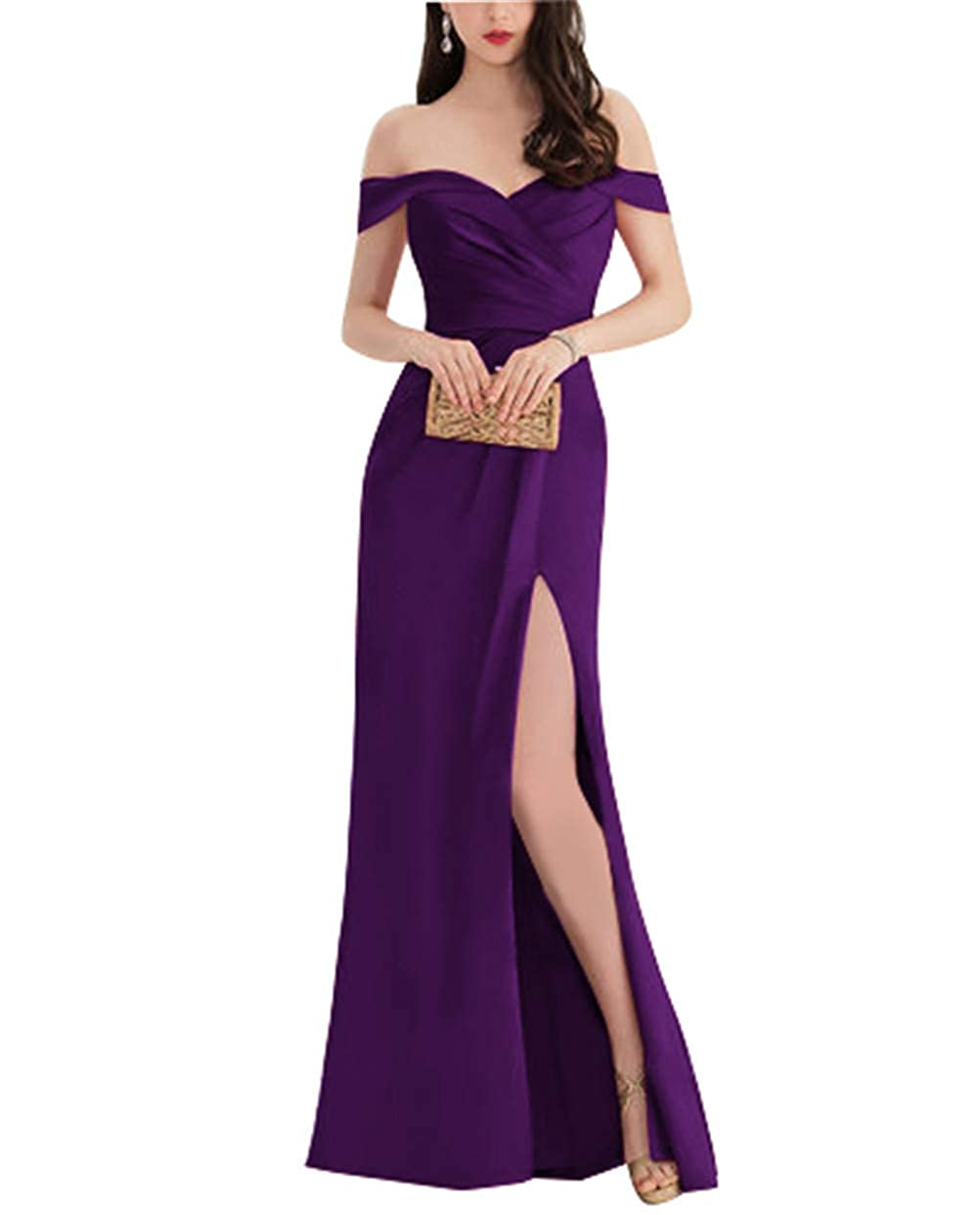 Grape Homecy Split Off Shoulder Prom Dress for Women Mermaid Long Satin Formal Evening Gowns
