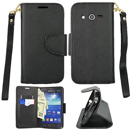 Walmart Family Mobile Samsung Galaxy Avant/G386T Premium Wallet Flip Credit Card Cover Case, Samsung Galaxy (T-Mobile) Avant G386T Black Premium PU Leather Stand (T Galaxy Case Avant Phone Mobile)