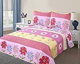 Golden Linens Full Size( 1 Quilt, 2 Shams) Pink Light Pink Yellow Floral Kids Teens/girls Quilt Bedspread 06-16 Girls