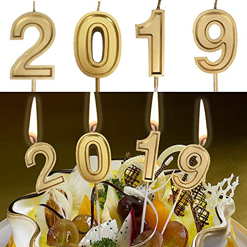MSOO Gold Number Birthday Numeral Candles Number Cake Decor for Adults/Kids Party (2019 A) -
