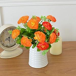 SituMi Artificial Fake Flowers RosePotted PlantsSilk FlowerIndoorMinimalistDecorationOrangeCamellia 95