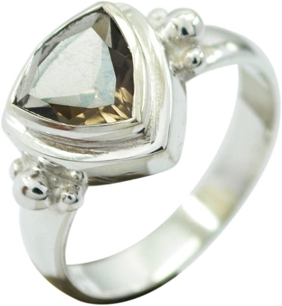 ring size:7.5 Crystal quartz ring sterling silver faceted stone handmade jewelry natural stone