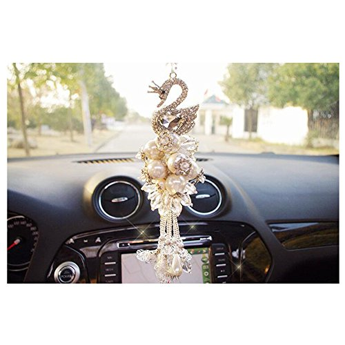 LuckySHD Crystal Swan Car Charm Interior Decoration Rearview Mirror Hanging Pendant - White by LuckySHD