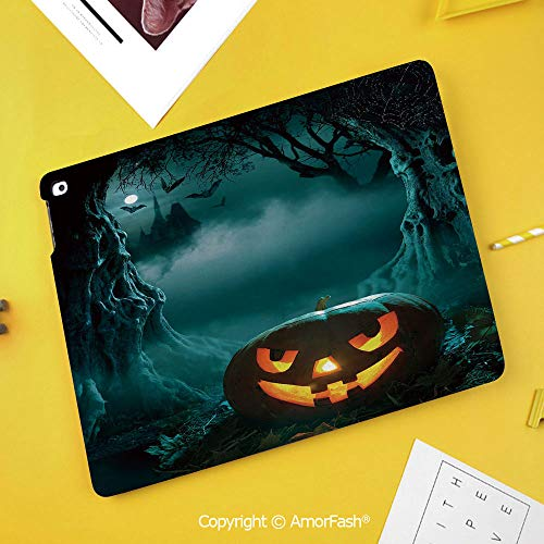 Case for SamsungGalaxy Tab S4 2018 10.5 T830 T835 SM-T835 Protective,Halloween,Carved Pumpkin in Dark Misty Forest Ancient Trees Gloomy Scenic Horror Theme,Teal Orange ()