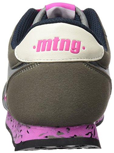 MTNG Attitude Funner Chica, Zapatillas de Deporte para Mujer Gris (RASPE Gris Oscurobordado Fucsia)