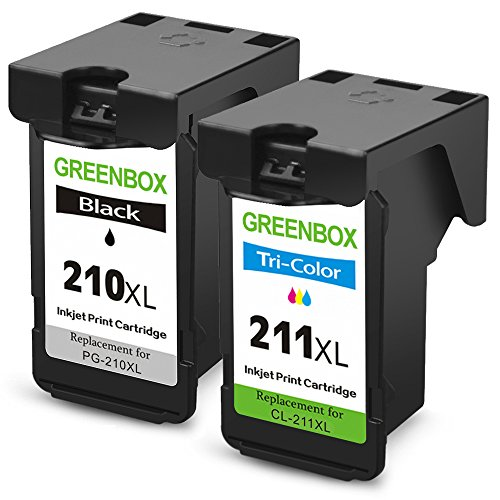 GREENBOX Remanufactured Ink Cartridge Replacement For Canon PG-210XL 210 XL CL-211XL 211 XL High Yield For CanonPIXMA IP2702 MP495 MP490 MP480 MP280 MX340 MX410 MX420 MX330 MX350 (1 Black+1 Tri-Color)