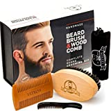 No Shedding Beard Kit | Beard Brush and 2 Beard Combs Set For Men | Natural Beard Grooming Kit Made Exclusively of Wood and Genuine Boar Bristles for Proper Beard Care and Maintenance