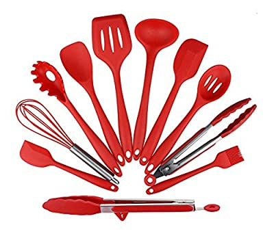 Silicone Kitchen Utensil Set 11-Piece Tool and Gadget Set for Cooking Baking, Red by Akconu