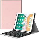 MoKo Keyboard Case for iPad 9.7 2018 with Apple Pencil Holder - Wireless Keyboard Cover Case for Apple All-New iPad 9.7 Inch 2018 Released Tablet (A1893 / A1954), Rose Gold