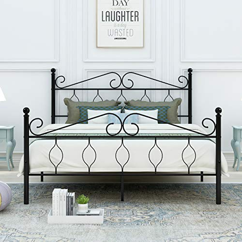 DUMEE Metal Bed Frame Queen Size Heavy Duty with Vintage Headboard and Footboard Platform Base Iron Easy Assembley Black ()