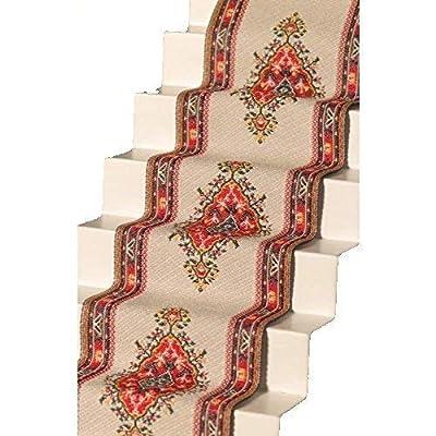 Melody Jane Dollhouse Woven Stair Carpet Runner Cream Red Miniature Flooring: Toys & Games
