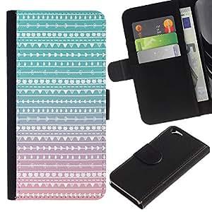 iKiki Tech / Cartera Funda Carcasa - Native Teal Pink Folk Subtle - Apple iPhone 6