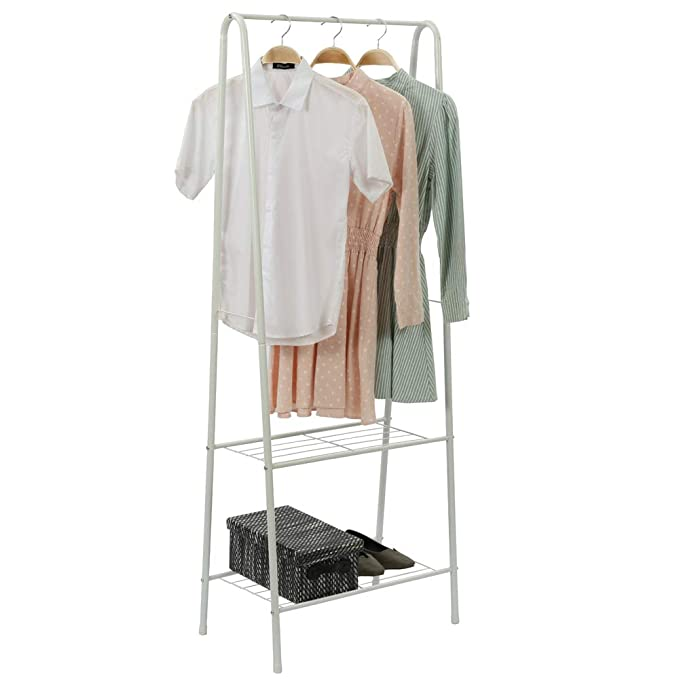 Home-Like 2-Tier Garment Rack Clothes Rack Clothing Rack Metal Clothes Rail Stand with Single Hanging Rail and 2 LayerStorage Shelf in White for ...