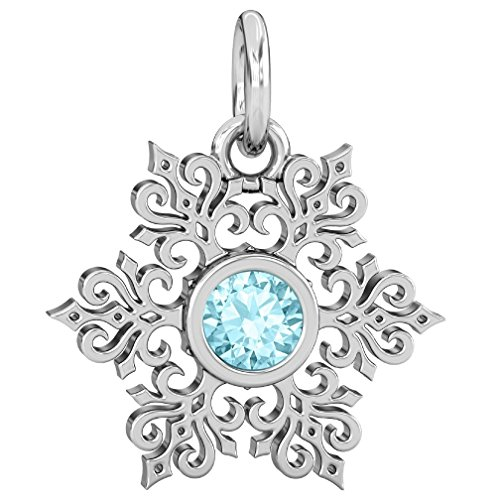 (Authentic BELLA FASCINI Winter Snowflake Dangle Bead Charm - Aqua Blue CZ Sterling Silver Fits Bracelets)