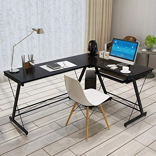 Sodoop L-Shaped Home Office Corner Desk Computer Table Steel Wood Study Desk Placed Keyboard Monitor Stand, PC Table Workstation, Black