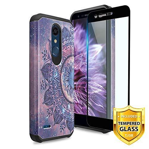TJS LG K10 2018/LG K30/LG Premier Pro LTE/LG Harmony 2/LG Phoenix Plus Case, [Tempered Glass Screen Protector] Dual Layer Hybrid Shockproof Protection Rugged Phone Case Cover (Mandala)