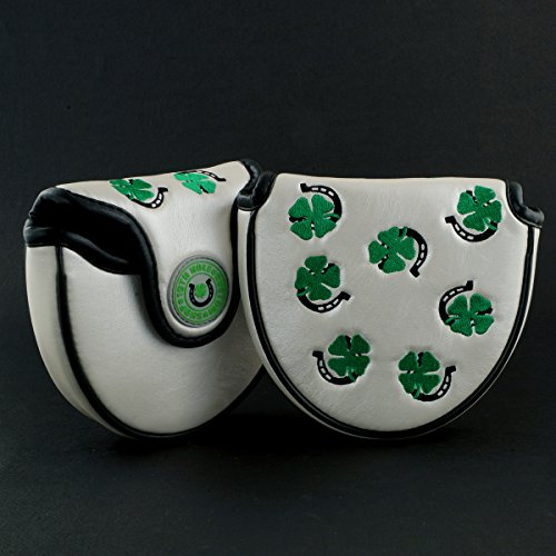 19th Hole Custom Shop 4-Leaf Clover and Horseshoe Mallet Putter Headcover, Heel Shafted, White, Golf Head Cover