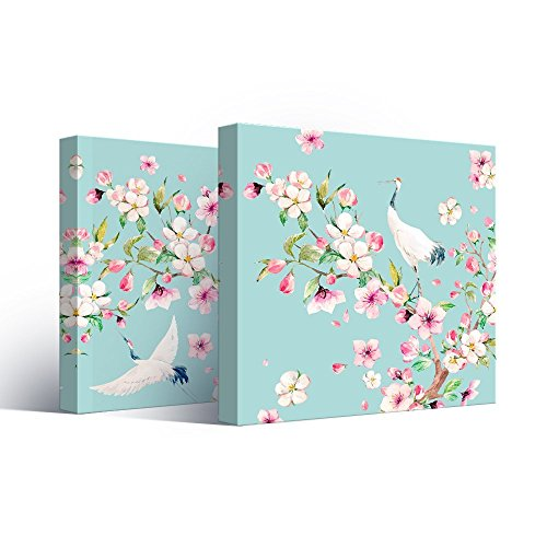2 Panel Square Watercolor Style Painting of Cranes and Flowers on Teal Background x 2 Panels