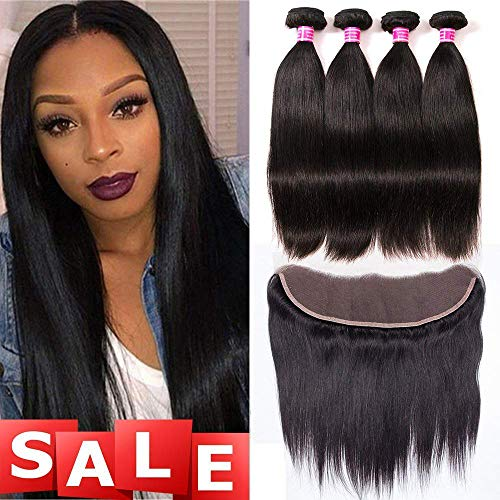 QinMei Brazilian Straight Hair 3 Bundles With Frontal Closure 13×4 Ear To Ear Lace Frontal Closure With Bundles 100% Unprocessed Virgin Human Hair Weave Extensions Natural Color (20 22 24+18 Frontal)