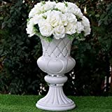 Mikash Wedding VASES 17 White with Crystal Beads Wedding Party Decorations Wholesale | Model WDDNGDCRTN - 1362 | 4 pcs