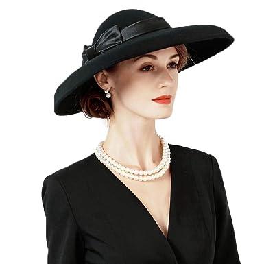 a185eda59b0 Australia Wool Felt Fedora Large Brim with Bowknot Female Cap Wedding Hats  at Amazon Women s Clothing store