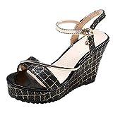 Qingell Women's Espadrille Platform Wedge Heel Peep Toe PU Sandals Summer Fashion Sandals Black