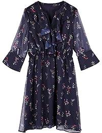 Rainstar Women's Plus Size V-Neck Flare Sleeve Floral Slimming Dress Summer
