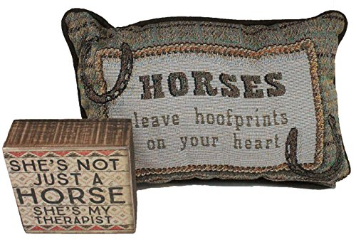 Horse Lover Gifts Horse Lover Gift Set - 2 Piece Set - Mini Pillow and Wood Block Sign - Comes In Organza Bag So Its Ready For Giving