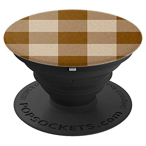 Light Earth Tones Traditional Buffalo Plaid Pattern - PopSockets Grip and Stand for Phones and Tablets