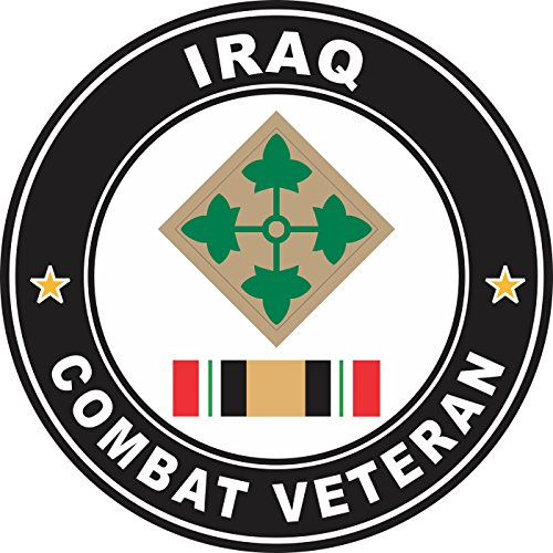 Military Vet Shop US Army 4th Infantry Division Iraq Combat Veteran Window Bumper Sticker Decal 3.8