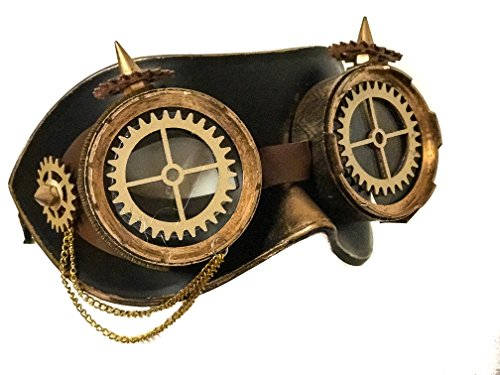Steampunk Gear Aviator Goggles Leather Mask